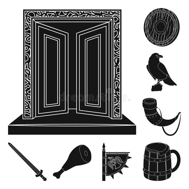 北欧海盗和属性黑象在集合汇集的设计 老扎线战士传染媒介标志股票网例证 皇族释放例证