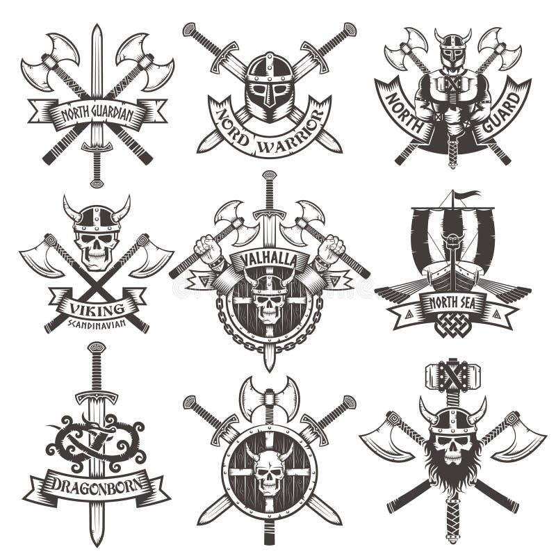 北欧海盗商标 向量例证