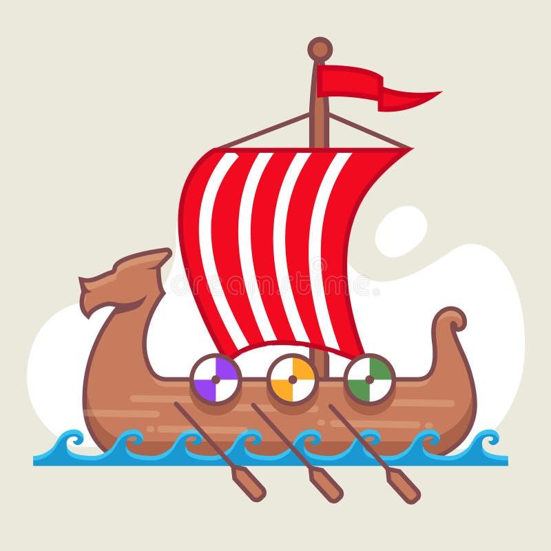 北欧海盗在海的船航行 充分的风帆 库存例证