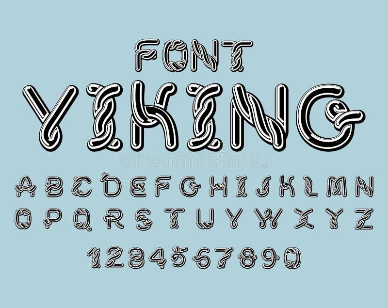 北欧海盗字体 扎线中世纪装饰品凯尔特ABC 传统anc 皇族释放例证