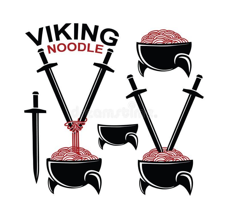 北欧海盗战士在盔甲的面条铁锅 免版税库存图片