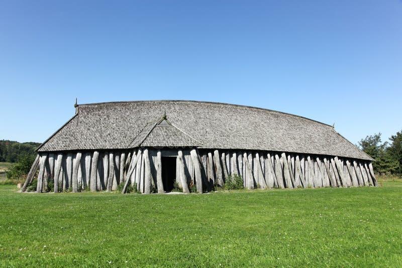 北欧海盗房子在Hobro,丹麦 免版税库存照片