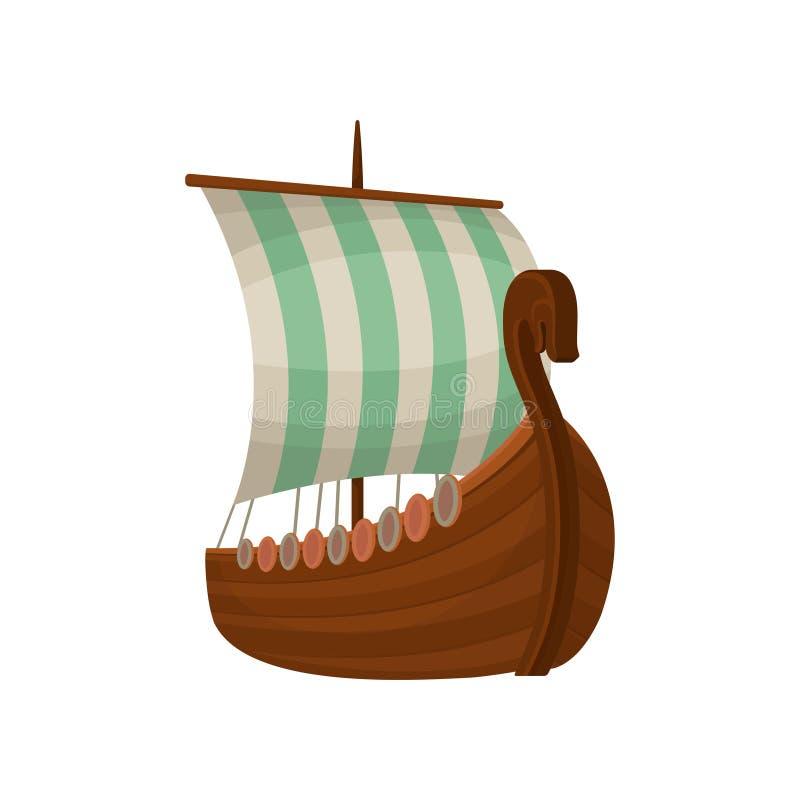 北欧海盗斯堪的纳维亚draccar与风帆,诺曼底人运输在白色背景的传染媒介例证 库存例证
