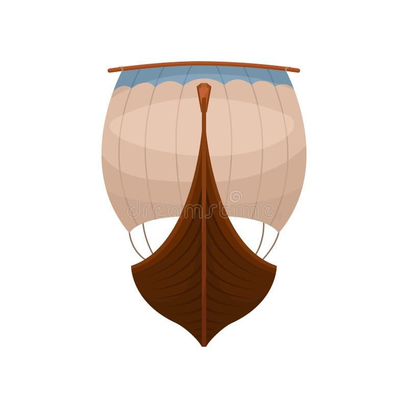 北欧海盗斯堪的纳维亚draccar,正面图,诺曼底人运输在白色背景的传染媒介例证 库存例证