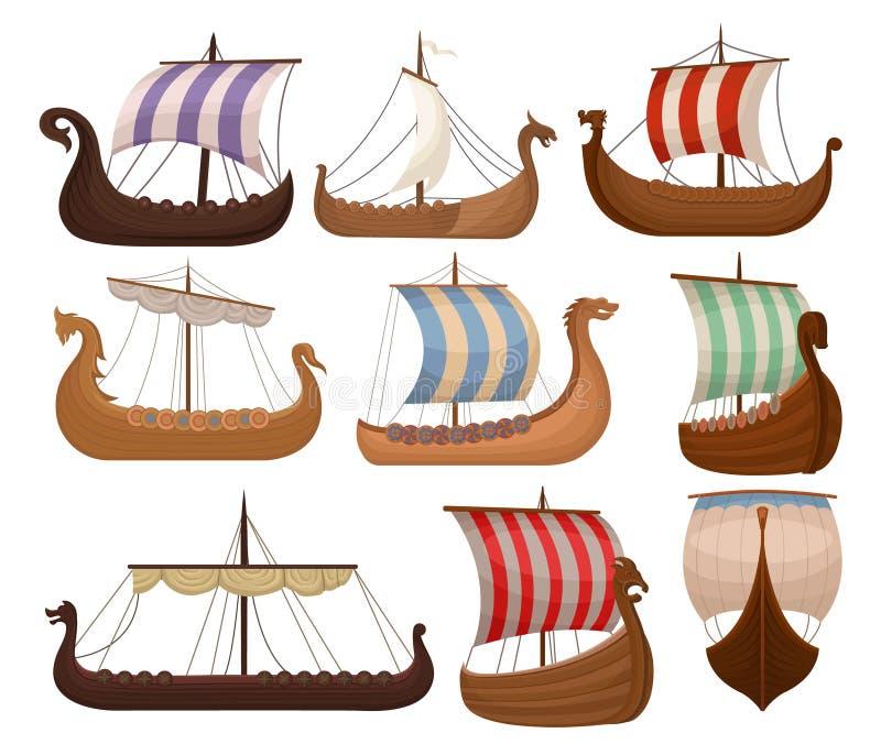 北欧海盗斯堪的纳维亚draccars设置了,诺曼底人装备有颜色销售在白色背景的传染媒介例证 库存例证