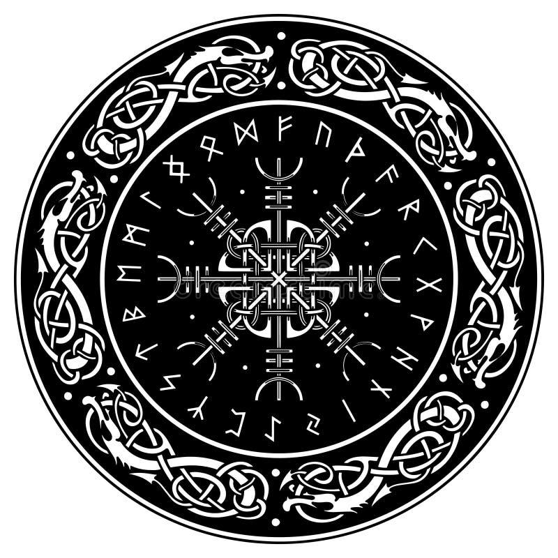 北欧海盗盾,装饰用龙和Aegishjalmur的斯堪的纳维亚样式,恐怖敬畏舵舵,冰岛语 向量例证