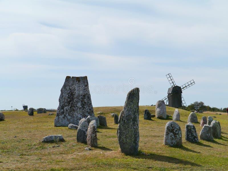 北欧海盗石头船在Gettlinge 库存图片