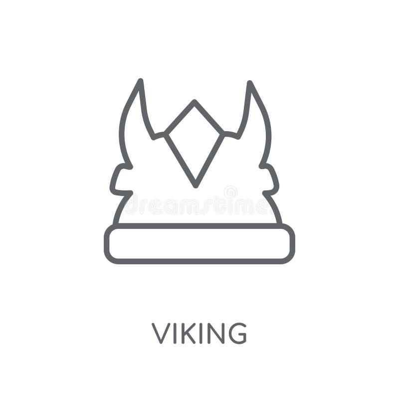 北欧海盗线性象 在白色的现代概述北欧海盗商标概念 皇族释放例证