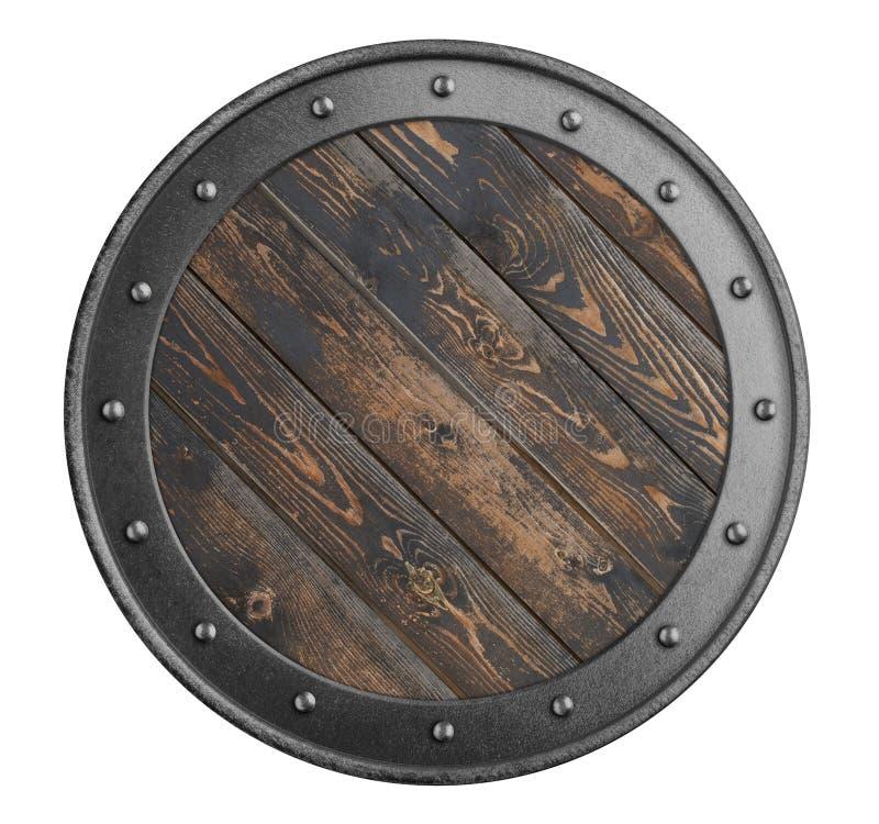 北欧海盗老木盾隔绝了3d例证 库存照片