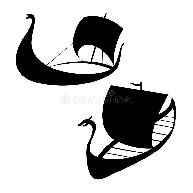 北欧海盗船象 Longship 在白色 库存例证