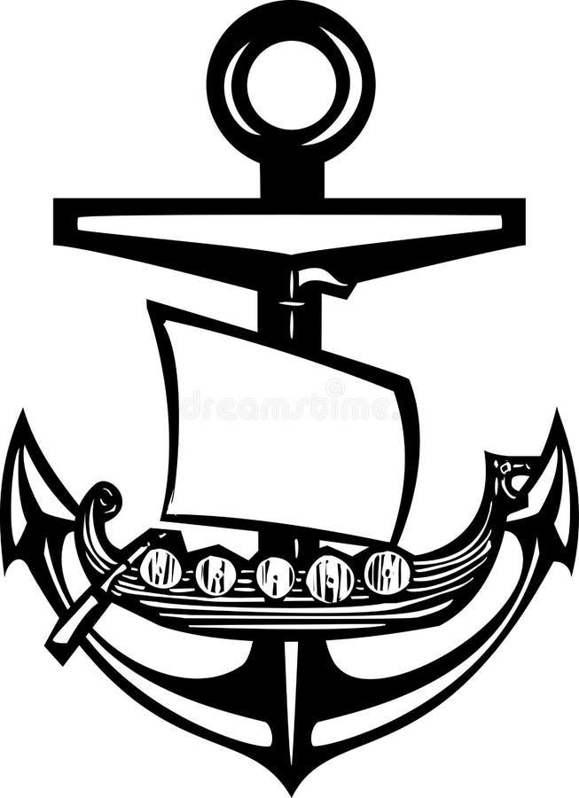 北欧海盗船锚 皇族释放例证