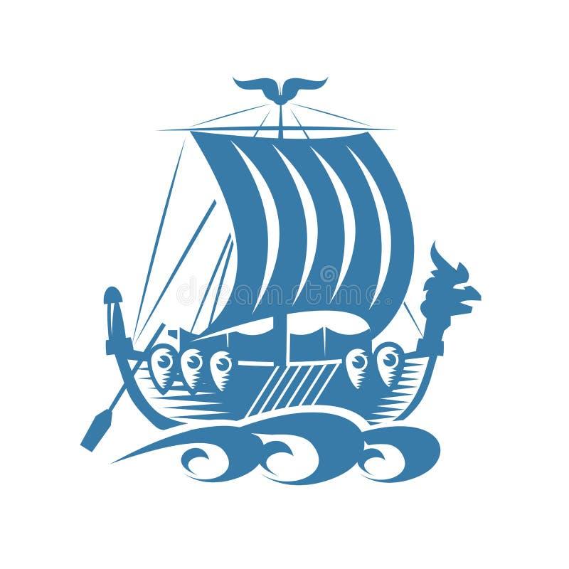 北欧海盗船 向量例证