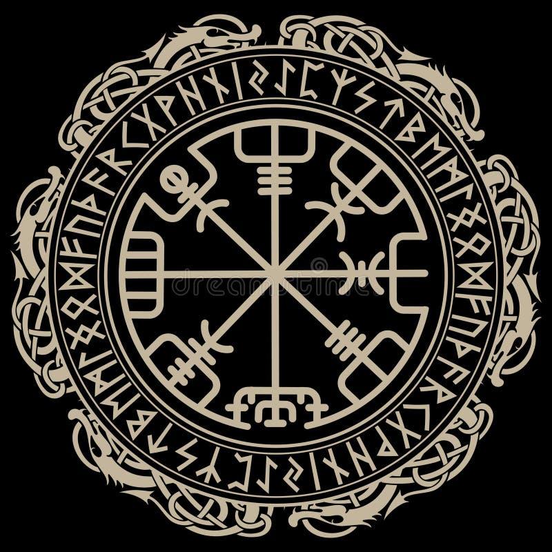 北欧海盗设计 在扎线诗歌和龙圈子的不可思议的古代北欧文字的指南针Vegvisir,  向量例证