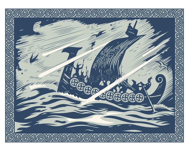 北欧海盗设计 Drakkar航行在风雨如磐的海 在斯堪的纳维亚样式的框架 皇族释放例证