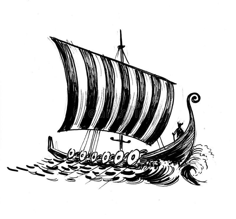 北欧海盗` s船 库存例证