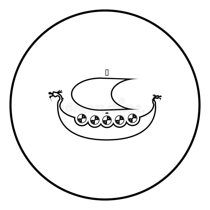 北欧海盗drakkar Dracar风船北欧海盗的船北欧海盗小船象概述在圈子圆的例证平的样式的黑色传染媒介 皇族释放例证