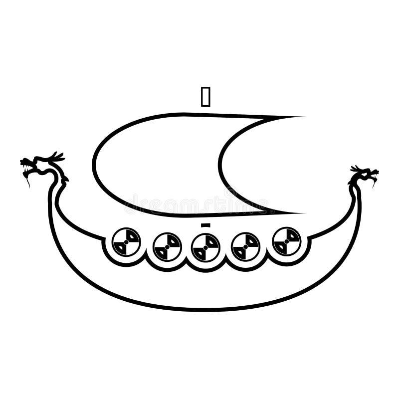 北欧海盗drakkar Dracar风船北欧海盗的船北欧海盗小船象黑色传染媒介例证平的样式图象 向量例证