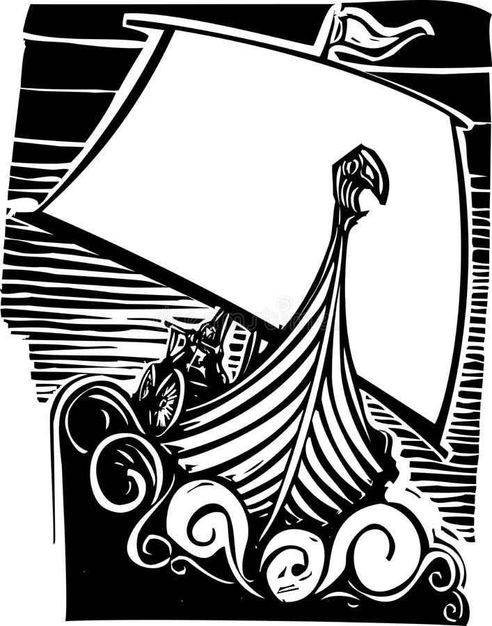 北欧海盗Longship航行 库存例证