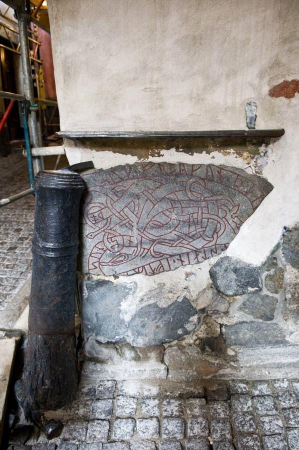 北欧海盗Runestone的片段在斯德哥尔摩,瑞典 库存图片