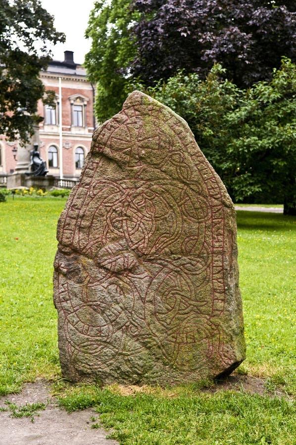 北欧海盗Runestone U938在乌普萨拉,瑞典 免版税图库摄影