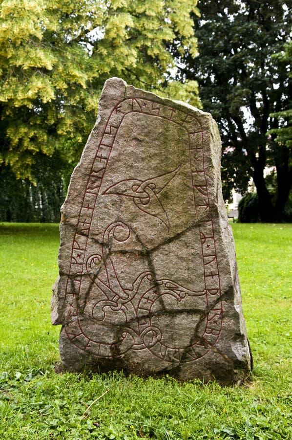 北欧海盗Runestone U937在乌普萨拉,瑞典 库存照片