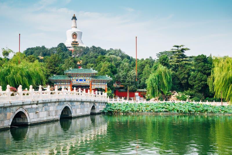 北海公园传统庭院和湖在北京,中国 免版税库存图片