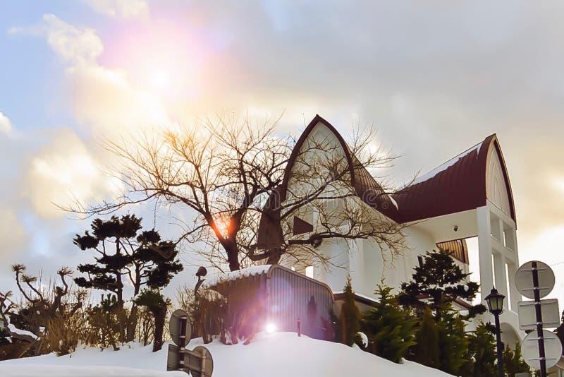 北海道的,有美丽的天空的日本教会 库存照片