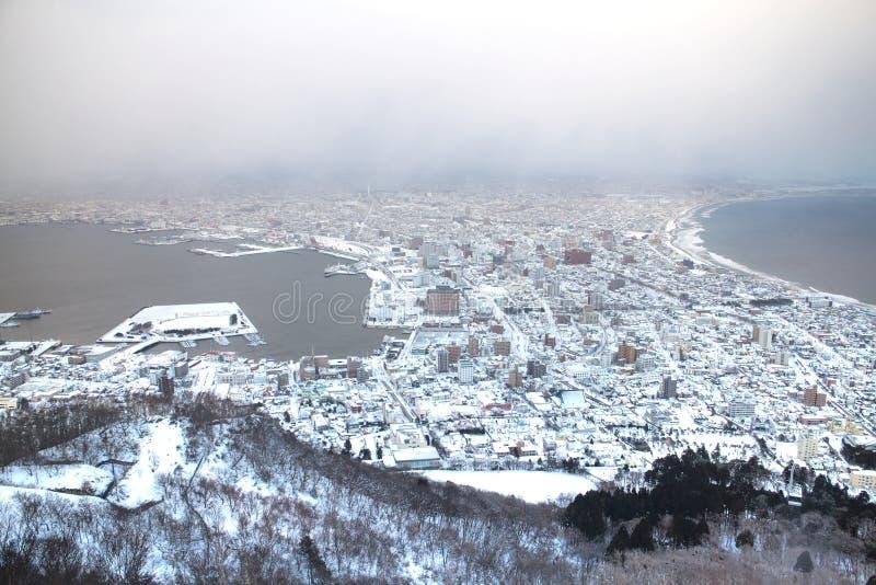 北海道, JAPAN-26 1月 2016年:在函馆市视图的日落从 库存照片