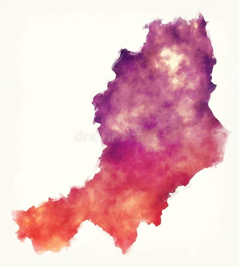 北爱尔兰的中间阿尔斯特水彩区地图 向量例证
