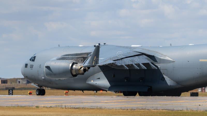 北约C-17在皇家空军Lakenheath的货物航空器 库存图片