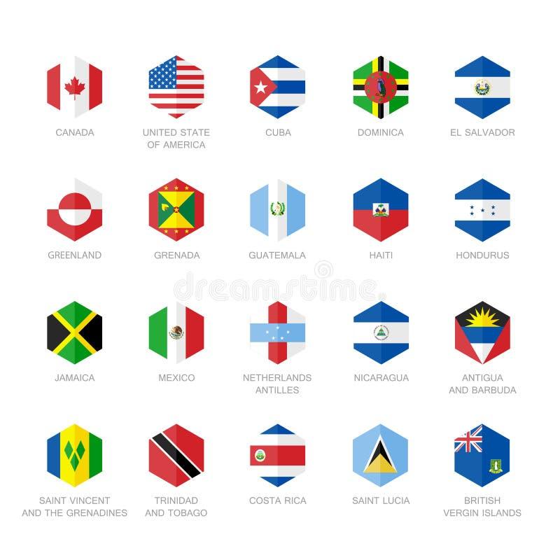 北美和加勒比旗子象 六角形平的设计 向量例证