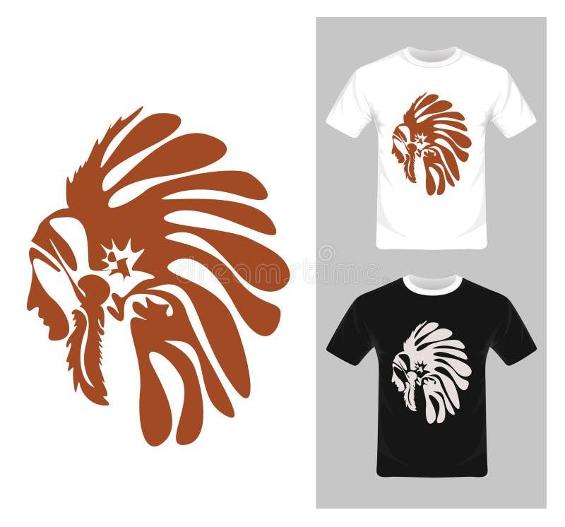北美洲印第安酋长- T恤杉图形设计 皇族释放例证