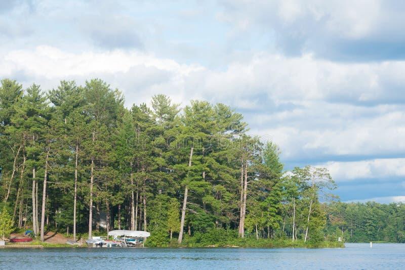 北美洲湖标示用树 免版税库存图片
