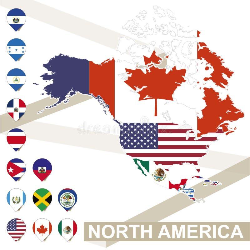 北美洲的传染媒介地图有旗子的 库存例证