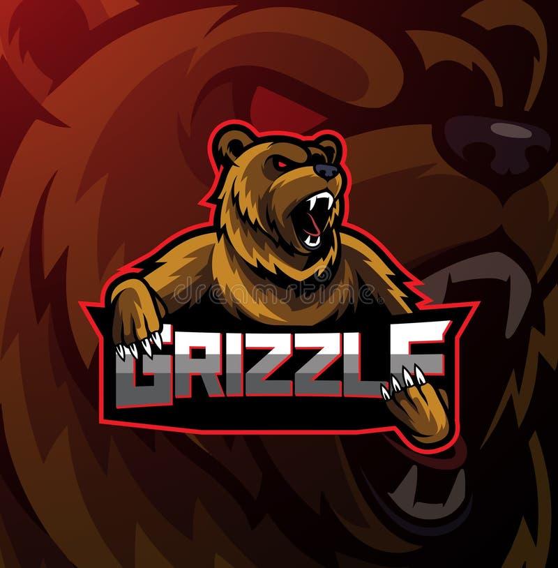 北美灰熊体育吉祥人商标设计 向量例证