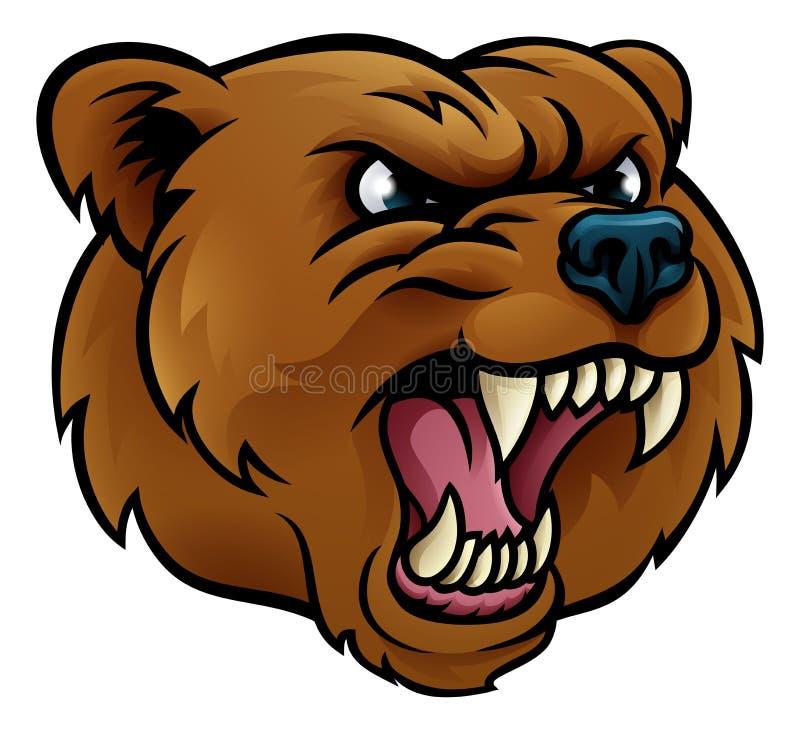 北美灰熊体育吉祥人恼怒的面孔 皇族释放例证