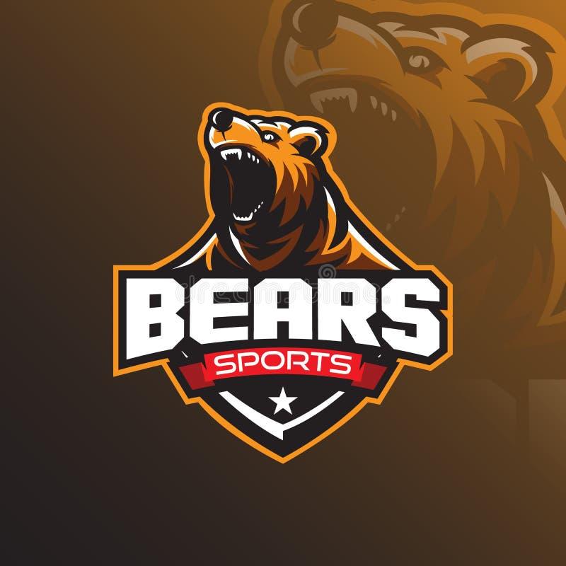 北美灰熊吉祥人商标与一个现代颜色概念和徽章象征样式的设计传染媒介体育队的 恼怒的熊例证 皇族释放例证