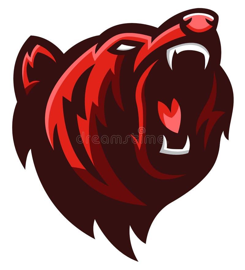 北美灰熊头 库存例证
