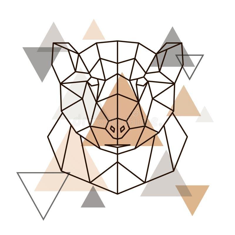 北美灰熊抽象几何头  皇族释放例证