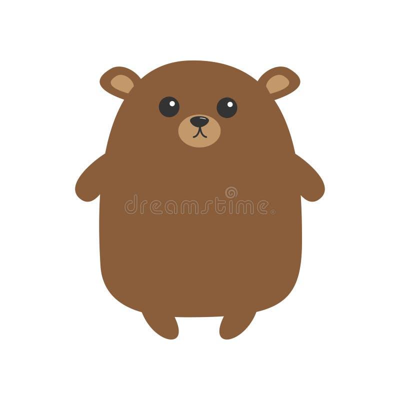 北美灰熊棕熊 逗人喜爱的动画片滑稽的kawaii字符 森林小动物汇集 奶油被装载的饼干 平的设计 库存例证