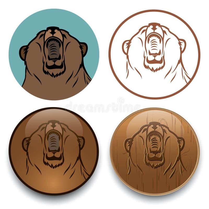 北美灰熊符号 向量例证