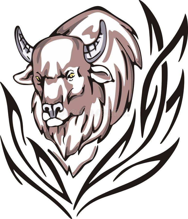 北美野牛纹身花刺 皇族释放例证