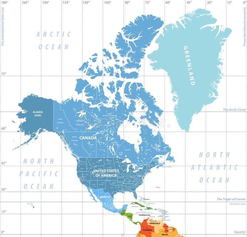 北美高详细的政治地图 被标记的所有分层堆积分隔和 皇族释放例证