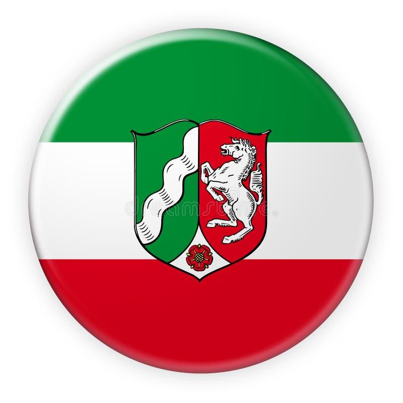 北莱茵-威斯特法伦旗子徽章,3d在白色背景的例证 向量例证