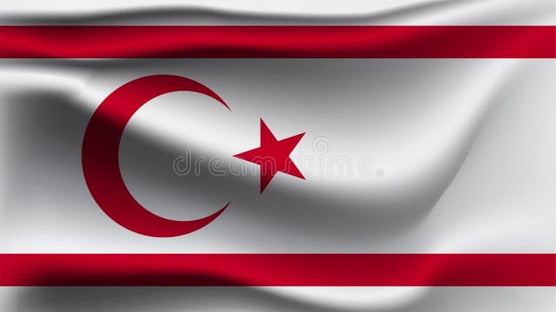北赛普勒斯土耳其共和国沙文主义情绪与风3D例证波浪旗子 皇族释放例证