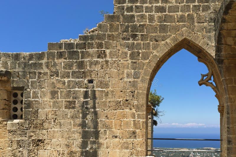 北赛普勒斯土耳其共和国Bellapais修道院 图库摄影