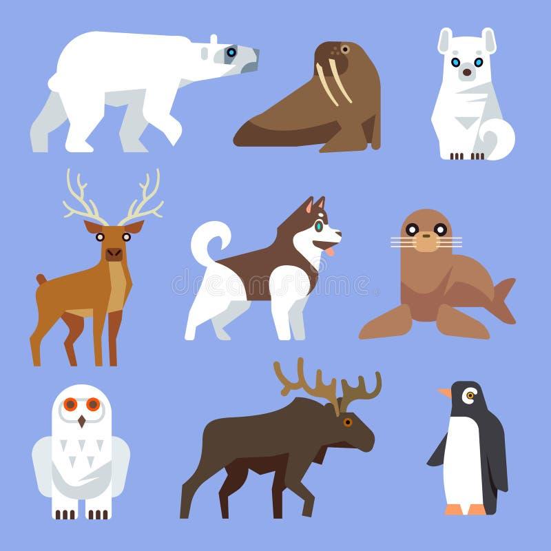 北部北极或南极动物和鸟 传染媒介平的收藏 向量例证