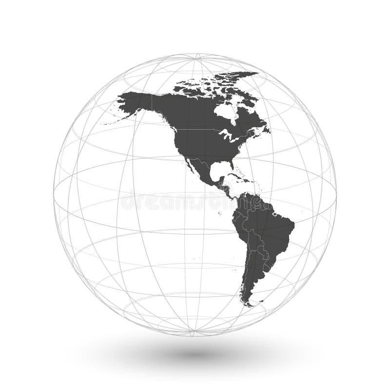 北部和南美地图背景传染媒介 向量例证