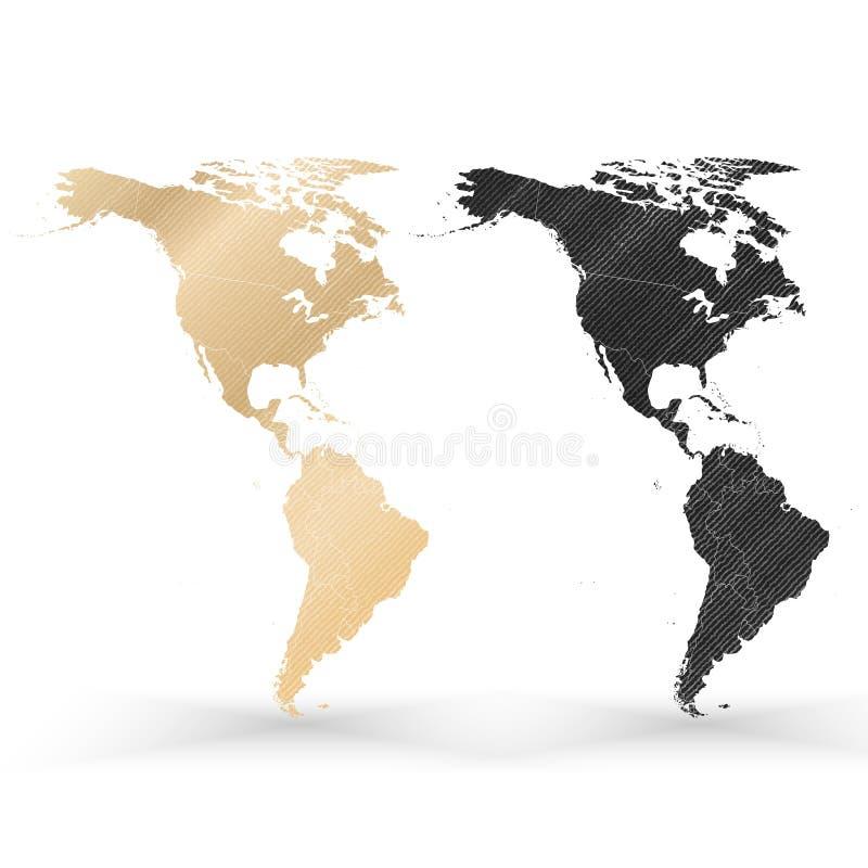 北部和南美映射,木设计纹理 皇族释放例证