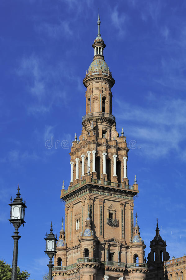 在广场de西班牙(西班牙广场),塞维利亚, Spai的北部塔 免版税库存图片